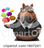 3d Chubby Brown Business Horse Holding Messages On A White Background