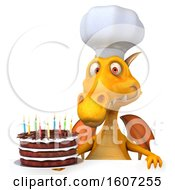 Poster, Art Print Of 3d Yellow Chef Dragon Holding A Birthday Cake On A White Background