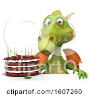 Poster, Art Print Of 3d Green Dragon Holding A Birthday Cake On A White Background