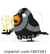 September 17th, 2018: Clipart Of A 3d Black Bird Holding A Bitcoin Symbol On A White Background Royalty Free Illustration by Julos