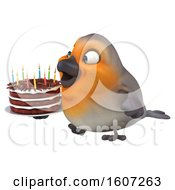 Poster, Art Print Of 3d Robin Bird Holding A Birthday Cake On A White Background
