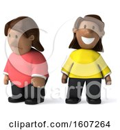 Clipart Of A 3d Casual Black Woman Shown As Chubby And Fit On A White Background Royalty Free Illustration
