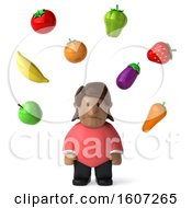 Clipart Of A 3d Chubby And Depressed Casual Black Woman With Produce On A White Background Royalty Free Illustration