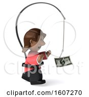 Clipart Of A 3d Casual Black Woman Chasing Money On A White Background Royalty Free Illustration