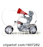 Poster, Art Print Of 3d Armored Knight Riding A Chopper Motorcycle On A White Background