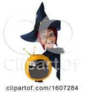 September 17th, 2018: Clipart Of A 3d Blue Green Witch Holding A Tv On A White Background Royalty Free Illustration by Julos