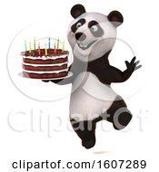 Poster, Art Print Of 3d Panda Holding A Birthday Cake On A White Background