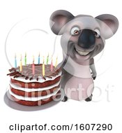Poster, Art Print Of 3d Koala Holding A Birthday Cake On A White Background