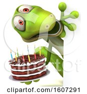 Clipart Of A 3d Green Gecko Holding A Birthday Cake On A White Background Royalty Free Illustration