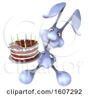 September 17th, 2018: Clipart Of A 3d Bunny Rabbit Holding A Birthday Cake On A White Background Royalty Free Illustration by Julos