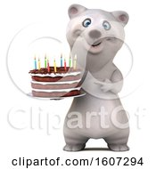 September 17th, 2018: Clipart Of A 3d Polar Bear Holding A Birthday Cake On A White Background Royalty Free Illustration by Julos