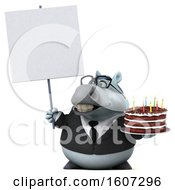 Poster, Art Print Of 3d Chubby White Business Horse Holding A Birthday Cake On A White Background