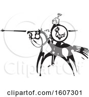 Clipart Of A Horseback Knight Saint George With A Shield And Spear Black And White Woodcut Royalty Free Vector Illustration