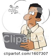 Clipart Of A Cartoon Drone Hovering Over A Black Man Using A Tablet Royalty Free Vector Illustration