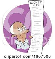 Cartoon Black Senior Man With A Long Bucket List In A Purple Circle