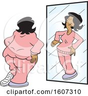 Clipart Of A Chubby Black Woman Seeing Herself As Thin In The Mirror Royalty Free Vector Illustration