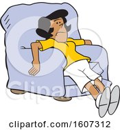 Clipart Of A Cartoon Exhausted Or Depressed Black Woman In A Chair Royalty Free Vector Illustration