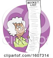 Clipart Of A Cartoon Black Senior Lady With A Long Bucket List In A Purple Circle Royalty Free Vector Illustration