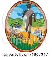 Poster, Art Print Of Silhouetted Male Country Marathon Runner In An Oval With Bluebells And A Stream