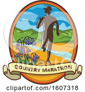 Poster, Art Print Of Silhouetted Male Country Marathon Runner In An Oval With Bluebells A Banner And A Stream