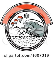 Clipart Of A Honey Badger In A Circle With Parachutes And Paramedic Symbols Royalty Free Vector Illustration by patrimonio