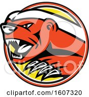 Clipart Of A Vicious Honey Badger Emerging From A Circle Royalty Free Vector Illustration
