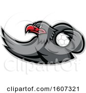 Clipart Of A Red And Gray Eagle Mascot Handball Player Royalty Free Vector Illustration