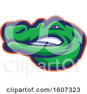 Clipart Of A Blue Red And Green Alligator Mascot Head Royalty Free Vector Illustration