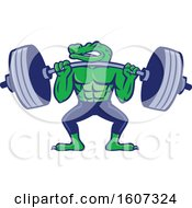 Muscular Alligator Man Mascot Lifting A Heavy Barbell