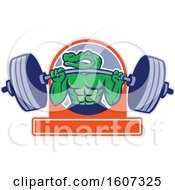 Muscular Alligator Man Mascot Lifting A Heavy Barbell Over A Banner