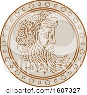 Clipart Of A Profiled Face Of Jupiter In A Circle Royalty Free Vector Illustration