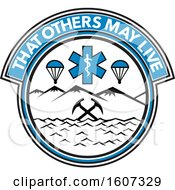 Clipart Of A Medical Emergency Rescue Design With Parachutes Paramedic Symbol Crossed Mountain Ice Axes Royalty Free Vector Illustration by patrimonio