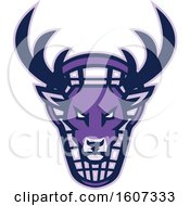 Clipart Of A Purple Buck Deer Mascot Head Over A Lacrosse Shield Royalty Free Vector Illustration by patrimonio