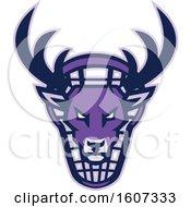 Purple Buck Deer Mascot Head Over A Lacrosse Shield