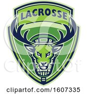 Clipart Of A Green Buck Deer Mascot Head In A Lacrosse Shield Royalty Free Vector Illustration