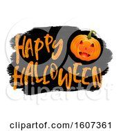 Clipart Of A Happy Halloween Greeting With A Jackolantern On Black And White Royalty Free Vector Illustration