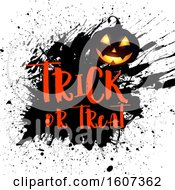 Clipart Of A Trick Or Treat Halloween Greeting With A Jackolantern Over Grunge Royalty Free Vector Illustration