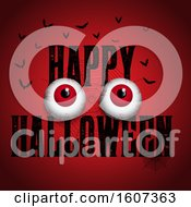 Clipart Of A Happy Halloween Greeting With Eyes And Bats On Red Royalty Free Vector Illustration