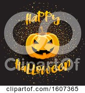 Clipart Of A Happy Halloween Greeting With A Jackolantern Over Confetti Royalty Free Vector Illustration