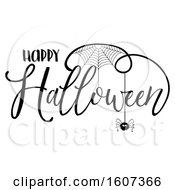 Clipart Of A Happy Halloween Greeting With A Spider And Web Royalty Free Vector Illustration