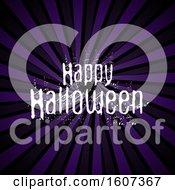 White Grunge Happy Halloween Greeting Over Purple Rays