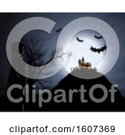 Clipart Of A 3D Female In Cloak Against A Defocussed Halloween Background Royalty Free Illustration