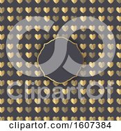 Blank Frame On A Gold Heart Pattern On Gray