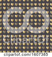 Gold Heart Pattern On Gray