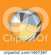 Clipart Of A Sphere With Geometric Triangles On Orange Royalty Free Vector Illustration