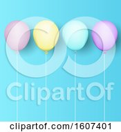 Clipart Of A Row Of Pastel Party Balloons And Strings On Blue Royalty Free Vector Illustration