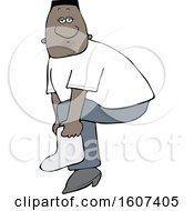 Clipart Of A Cartoon Black Male Slipping On A Boot Cover Royalty Free Vector Illustration