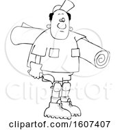 Clipart Of A Cartoon Lineart Black Male Carpet Layer Carrying A Roll And Trowel Royalty Free Vector Illustration