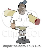Clipart Of A Cartoon Black Male Carpet Layer Carrying A Roll And Trowel Royalty Free Vector Illustration