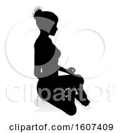 Clipart Of A Silhouetted Woman Sitting In A Lotus Position With A Shadow Or Reflection On A White Background Royalty Free Vector Illustration